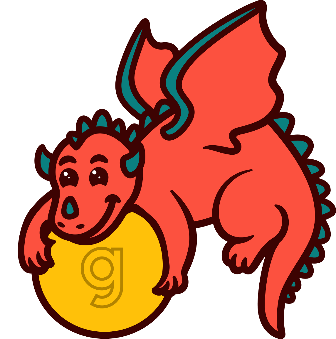 """The HAPII logo - A dragon holds a gold coin with a Gusto """"g"""" on it."""